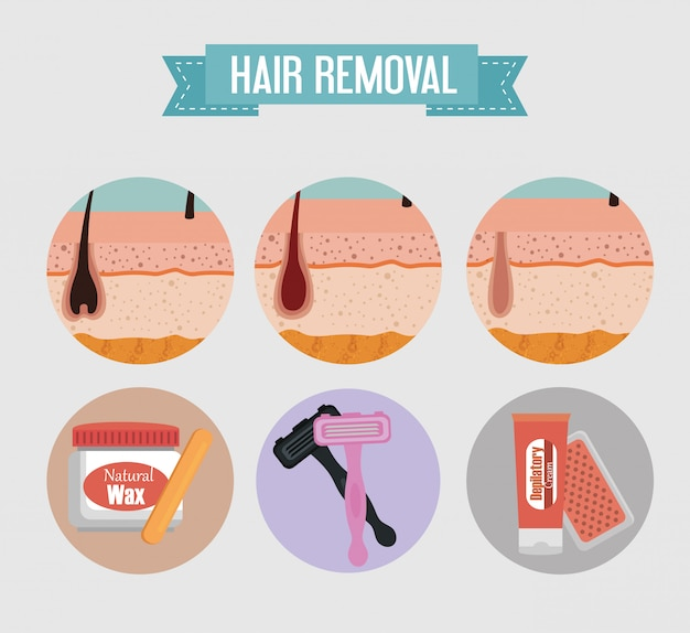 Layers skin structure and hair removal tools Free Vector