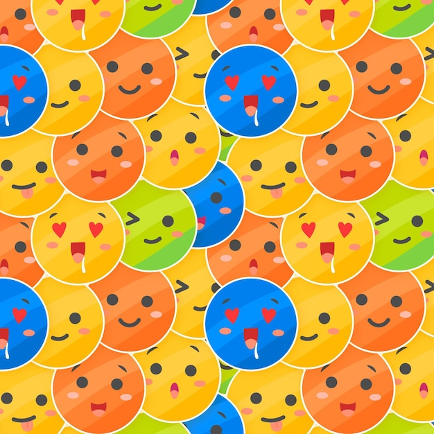 Layes of emoticons pattern template Free Vector