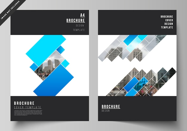 Layout of a4 format modern cover mockups design templates Premium Vector