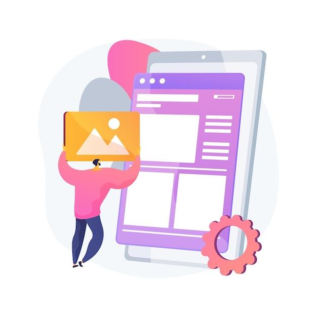 レイアウトの抽象的な概念図。ウェブサイト開発、ユーザーインターフェース、フロントエンド、グラフィックデザインチーム、ランディングページ、レスポンシブデザイン、マーキングツール、一貫性 無料ベクター