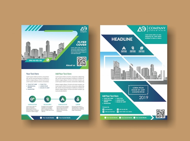 Layout cover design annual report brochure Premium Vector