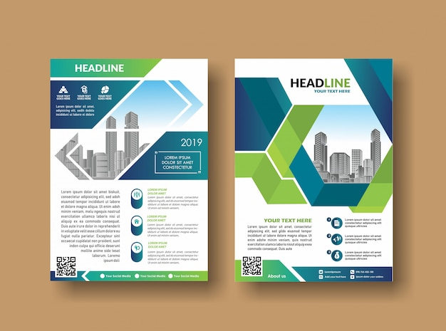 Layout cover design annual report flyer Premium Vector