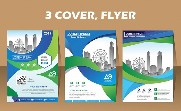 Layout flyer of three a4 format modern covers design Premium Vector