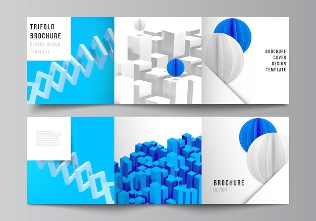 正方形のレイアウトは、3つ折りパンフレット、チラシ、雑誌、カバーデザイン、ブックデザインのデザインテンプレートをカバーしています。動きのある動的な現実的な幾何学的な青い形状の3 dレンダリング構成。 Premiumベクター