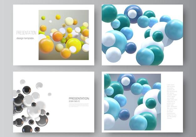 프레젠테이션 슬라이드 디자인 비즈니스 템플릿, 프레젠테이션 브로셔 다목적 템플릿, 보고서의 레이아웃. 여러 3d 분야, 거품, 공 현실적인 배경. 프리미엄 벡터