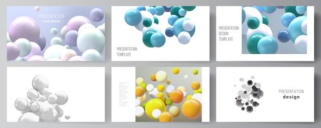 Макет презентации слайдов дизайн бизнес-шаблонов, универсальный шаблон для презентации брошюры, отчета. реалистичный фон с разноцветными 3d сферами, пузырями, шарами. Premium векторы