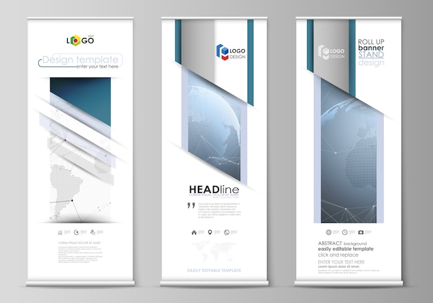 Layout of roll up banner stands, vertical flyers Premium Vector