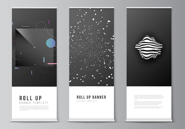 Layout of roll up   design templates for vertical flyers, flags design templates, banner stands, advertising design  s. tech science future background, space design astronomy concept. Premium Vector
