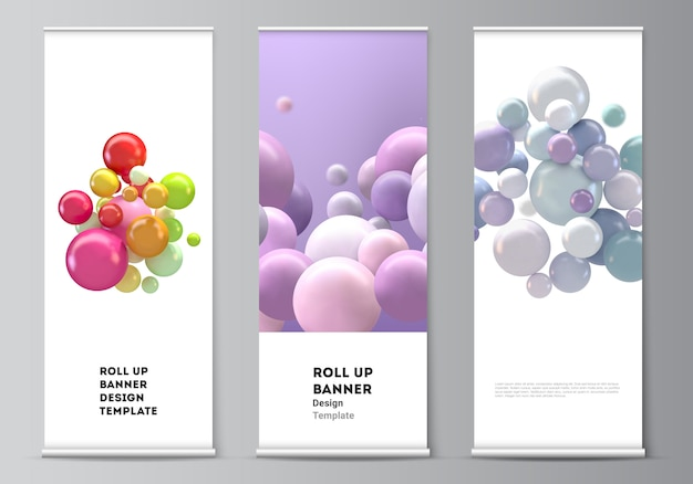 Layout of roll up  templates for vertical flyers, flags design templates, banner stands, advertising . abstract futuristic background with colorful 3d spheres, glossy bubbles, balls Premium Vector