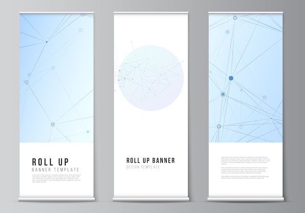 Layout of roll up templates for vertical flyers Premium Vector