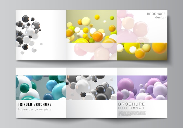 Layout of square covers templates for trifold brochure, flyer, magazine, cover design, book design. abstract futuristic background with colorful 3d spheres, glossy bubbles, balls. Premium Vector