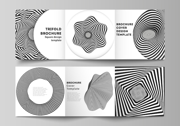 Layout of square format covers templates for trifold brochure Premium Vector