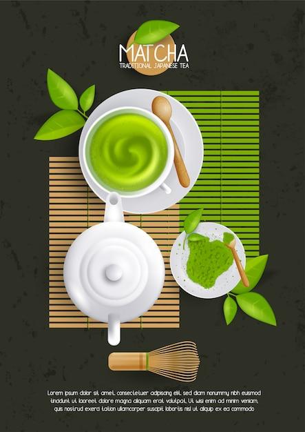 Шаблон макета с чашкой матча латте. иллюстрация зеленого чая, японский напиток, органический напиток. Premium векторы