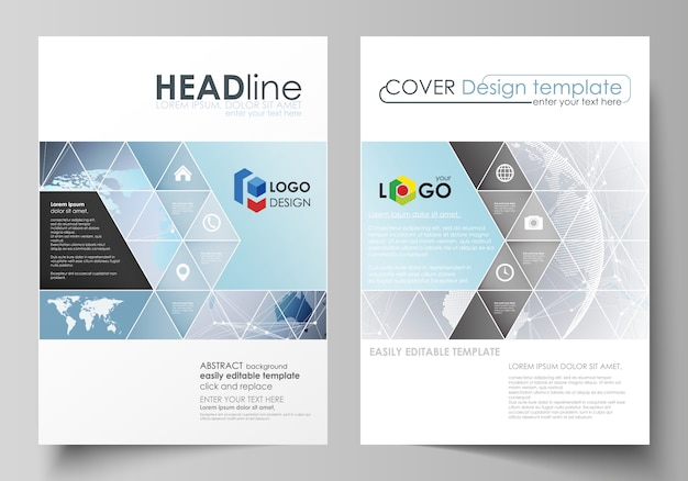 The layout of two a4 format covers with triangles templates Premium Vector