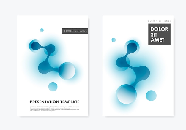 Layout two covers templates brochure technology and biotechnology and science background Premium Vector