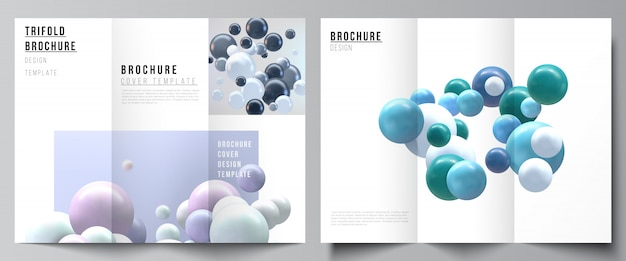 Layouts of covers design templates for trifold brochure, flyer layout, magazine, book design, brochure cover, advertising. realistic background with multicolored 3d spheres, bubbles, balls. Premium Vector
