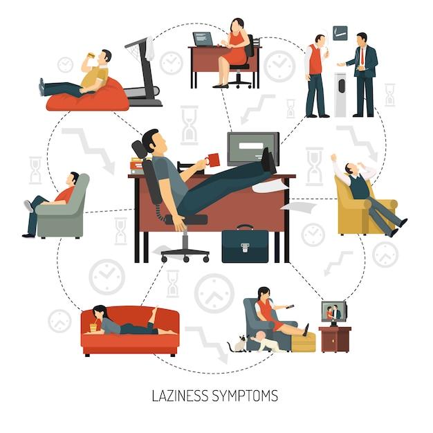 Laziness symptoms infographics Free Vector