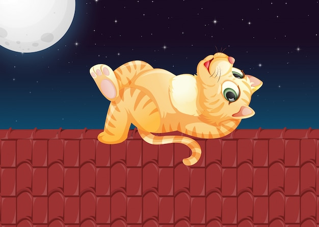 A lazy cat on the roof Free Vector