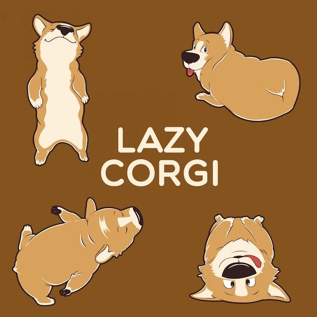 Lazy corgi Premium Vector