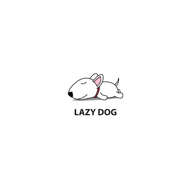 Lazy Dog Cute Bull Terrier Puppy Sleeping Icon Logo