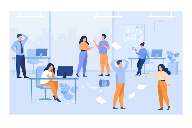 Lazy employees making mess and chaos at workplaces in office. unorganized managers chatting, using computers at desk among flying papers. for chaotic work, teamwork problem concept Free Vector