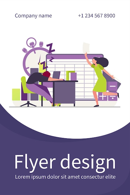 Lazy office worker. man sleeping at workplace, colleague with paper running. flyer template Free Vector