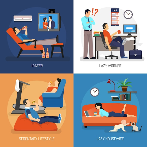 Lazy people compositions Free Vector