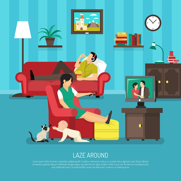 Lazy people illustration Free Vector
