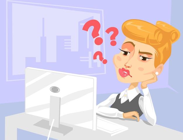 Ленивый секретарь женщина персонаж с множеством вопросов Premium векторы
