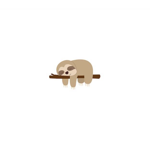 Lazy sloth sleeping on a branch flat design Premium Vector