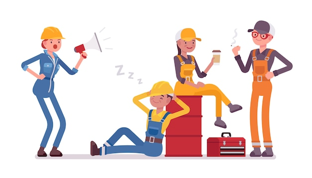 Lazy workers resting Premium Vector