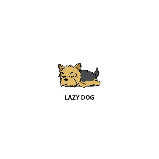 Lazy yorkshire terrier puppy sleeping icon Premium Vector