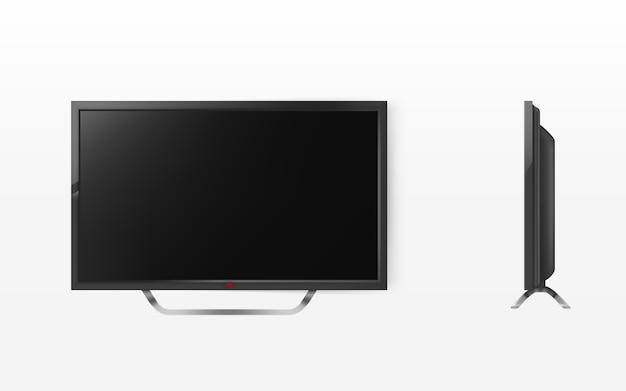 Lcd screen, mock up of plasma television, modern video system. hd tv digital technology. Free Vector