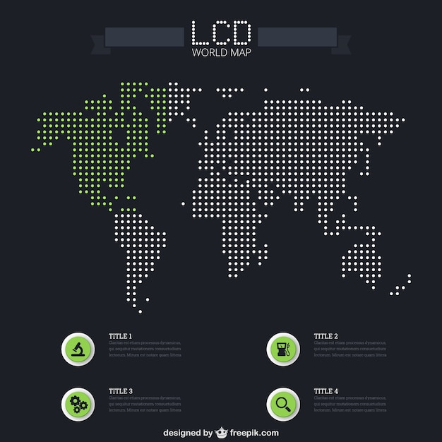 LCD world map infographic Free Vector