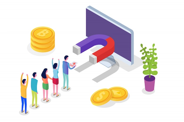 Lead generate, inbound marketing magnet isometric concept.  illustration Premium Vector