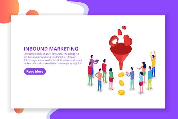 Lead generate, inbound marketing magnet isometric concept.  illustration Premium Vector