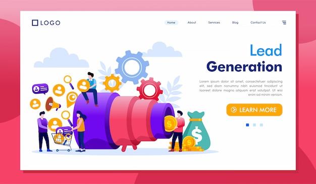 Lead generation landing page website illustration vector Premium Vector