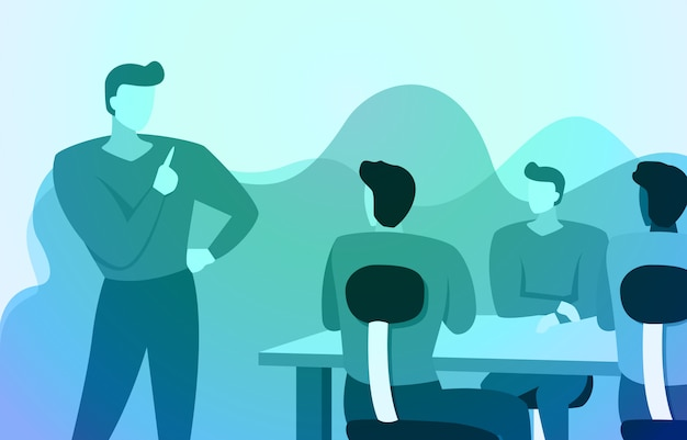 Leader manager stands gives business instructions to work team in office illustration Premium Vector
