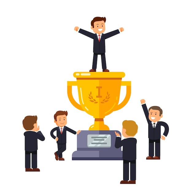 Leader standing on big winner golden cup Free Vector