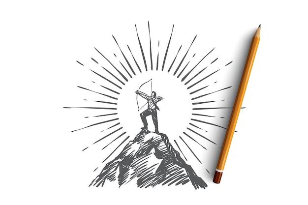 リーダー、成功、戦略、キャリアコンセプト。手描きの孤立したベクトル Premiumベクター