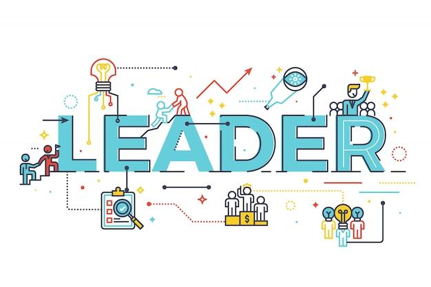 Leader word in business leadership concept, word lettering design illustration Premium Vector