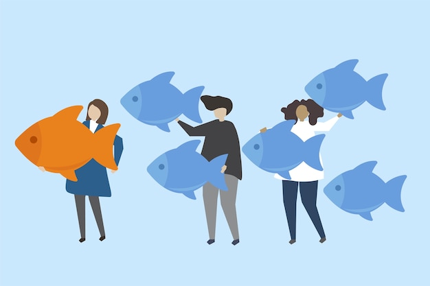 Leadership and standing out of the crowd\ illustration