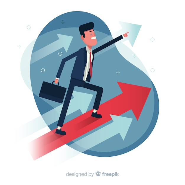 Leadership background in flat style Premium Vector