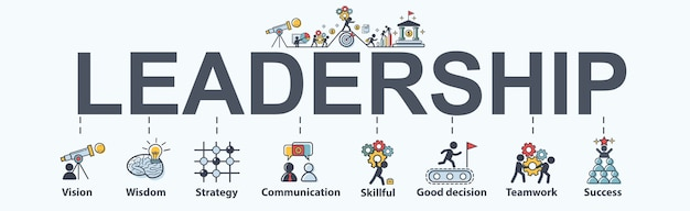 Leadership Banner Web Icon For Business Premium Vector