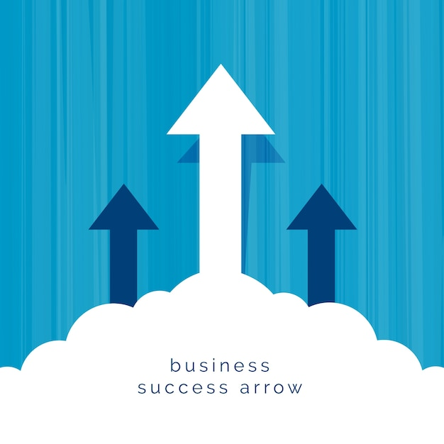 Leadership business concept with arrow flying through clouds Free Vector