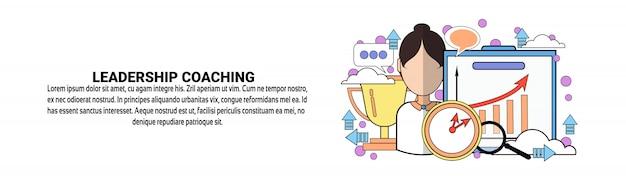 Leadership coaching business training concept horizontal banner template Premium Vector