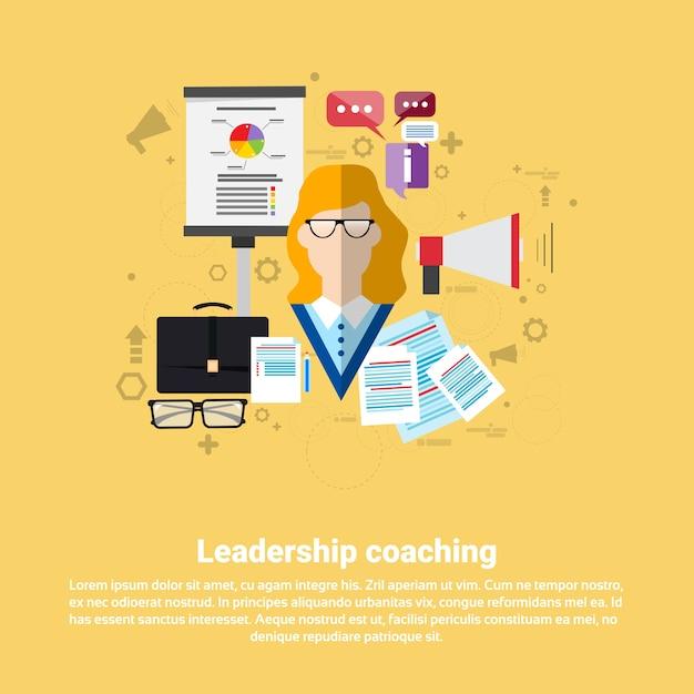 リーダーシップコーチングマネジメント事業 Premiumベクター