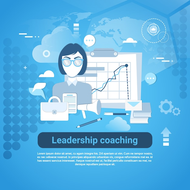 Leadership coaching web banner with copy space on blue background Premium Vector