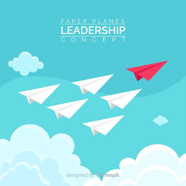 Leadership concept and paper planes design Free Vector