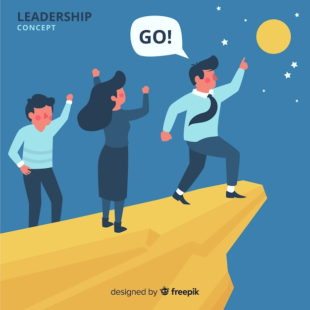 Leadership concept in flat style Free Vector
